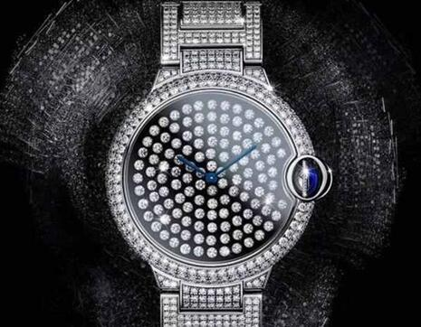 All the shiny diamonds paved on the timepiece make the Cartier very noble and precious.