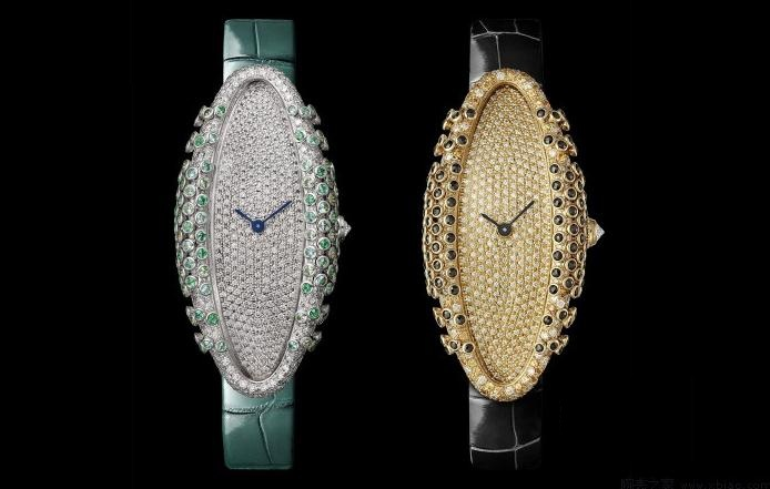 The luxury fake Cartier watches have diamond-paved dials.