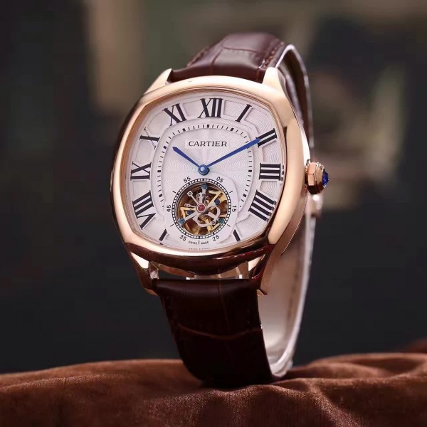 The 18k rose gold copy watches have tourbillons.