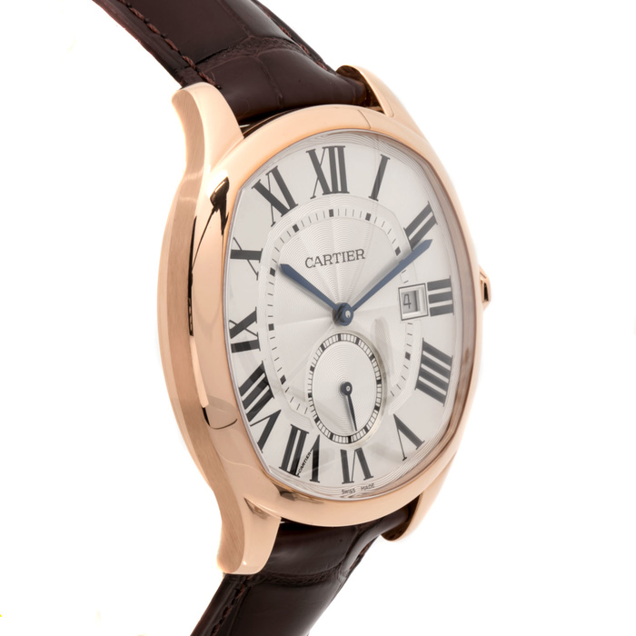 The 18k rose gold copy watches have silvery dials.