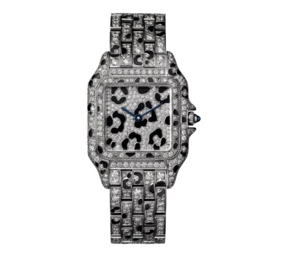 The 18k white gold fake watches are decorated with diamonds.