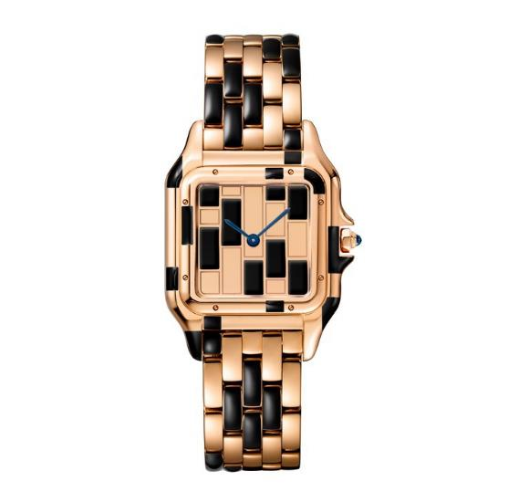 The female replica watches are made from polished 18k rose gold.