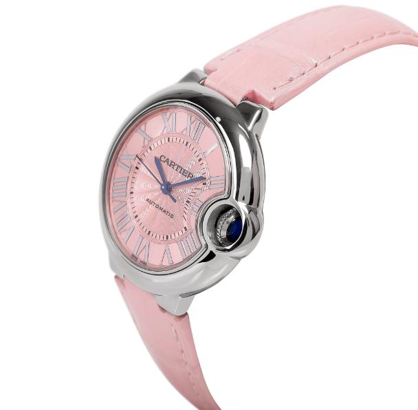 The pink leather straps fake watches have pink dials.