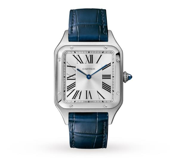 The stainless steel copy watches have blue straps.