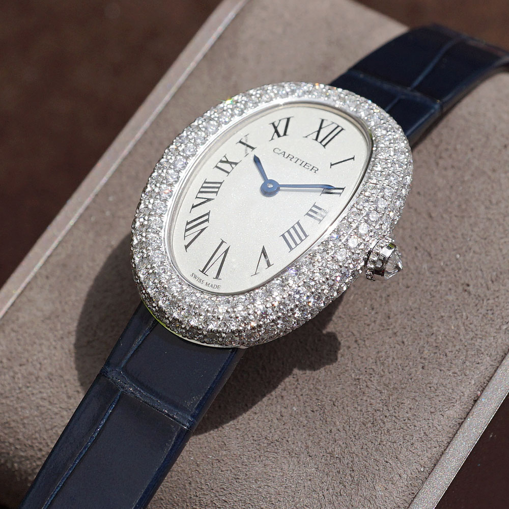 The 18k white gold copy watches are decorated with diamonds.