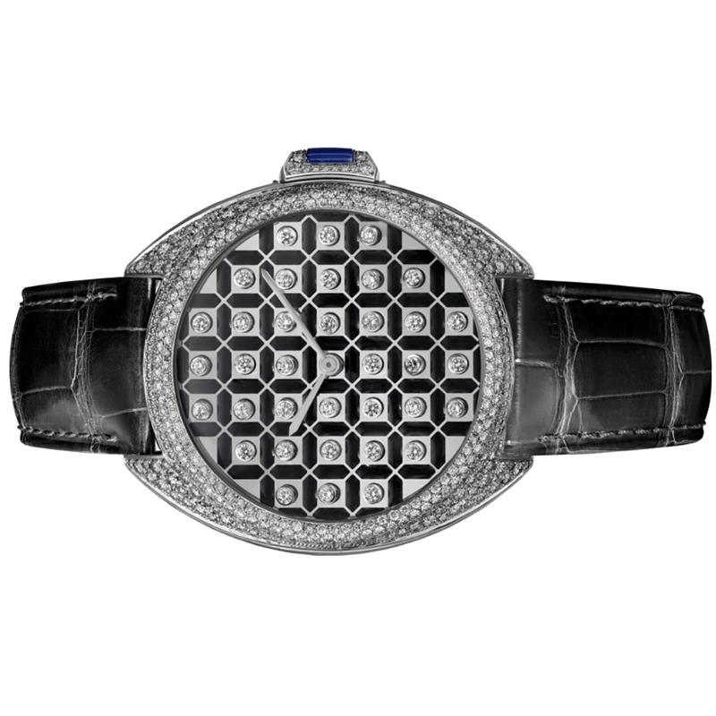 The 40 mm replica watch is made from 18k white gold.