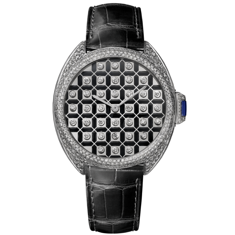 The black strap fake watch is decorated with diamonds.